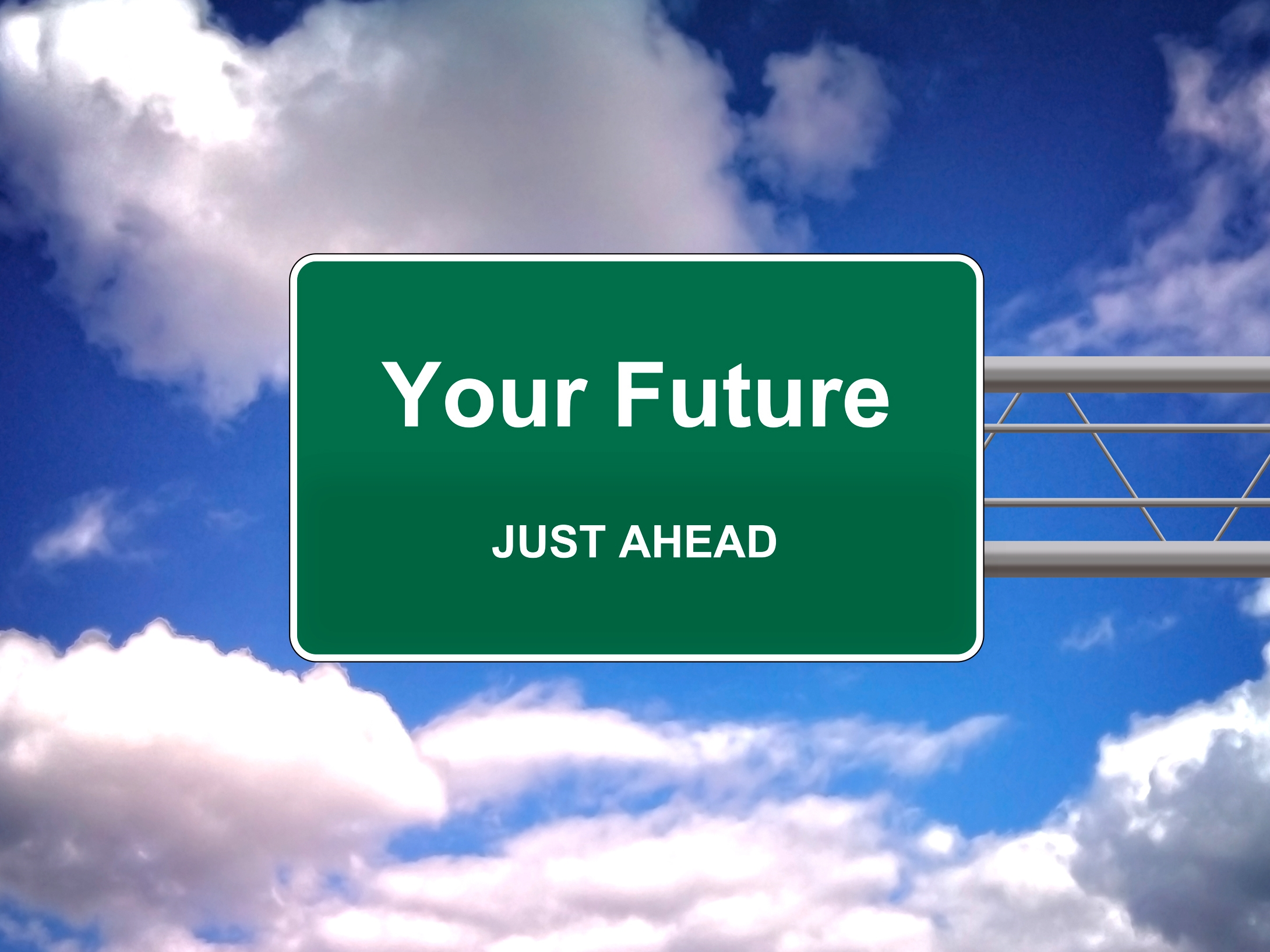 Your Future Just Ahead road sign - Future concept