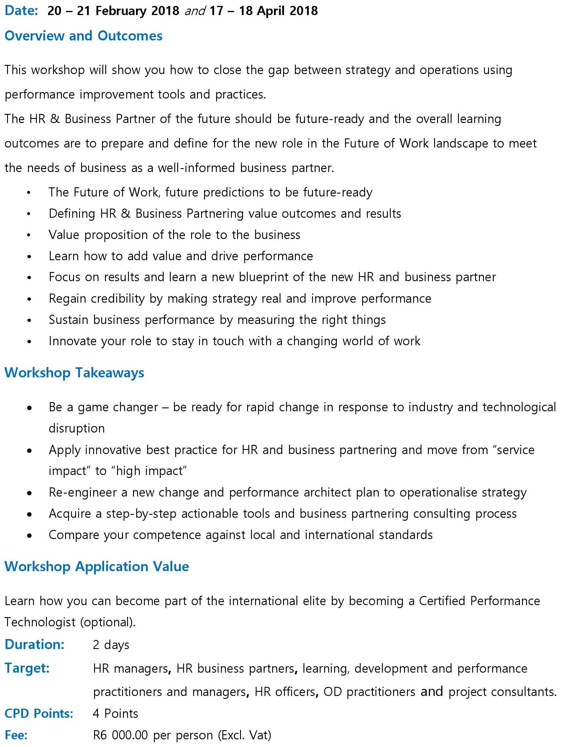 HR Business Partnering Workshop Brochure