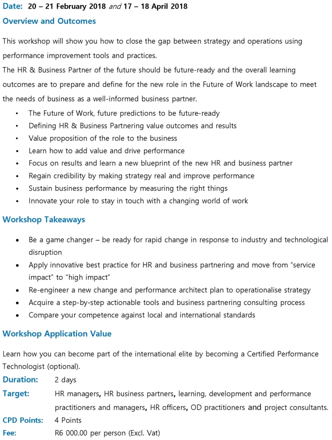 HR Business Partnering Workshop Brochure