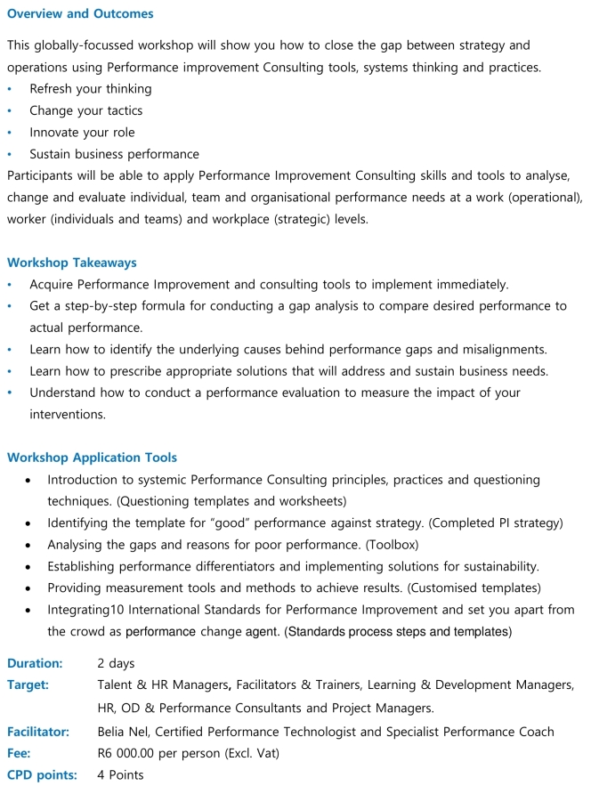 Performance Improvement Consulting Workshop